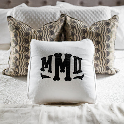 South of Hampton: White Pique Husband Pillow with Applique - SB Shop