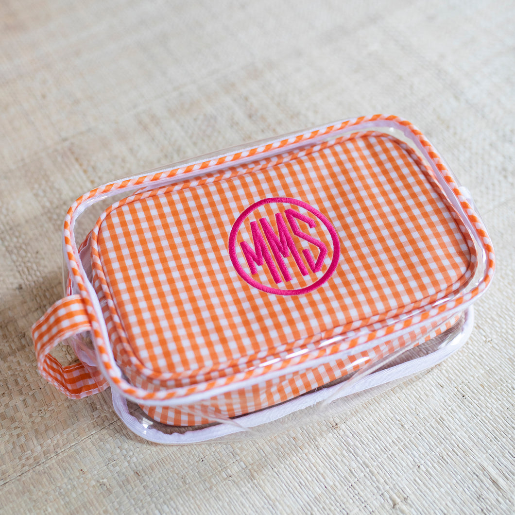 South of Hampton: Clear Gingham Travel Case Duo in Orange
