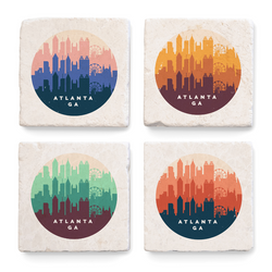 ARCHd: Atlanta, GA Retro Skyline Marble Coasters - SB Shop