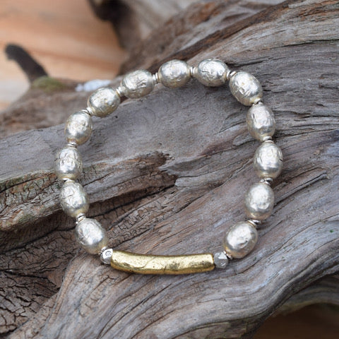 Amy Wells Designs: Hammered Gold & African Prayer Bead Bracelet