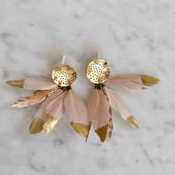 Hearne Dry Goods: Blush Feather Ear Bobs