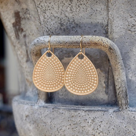 Amy Wells Designs: Matte Gold Textured Teardrop Earrings