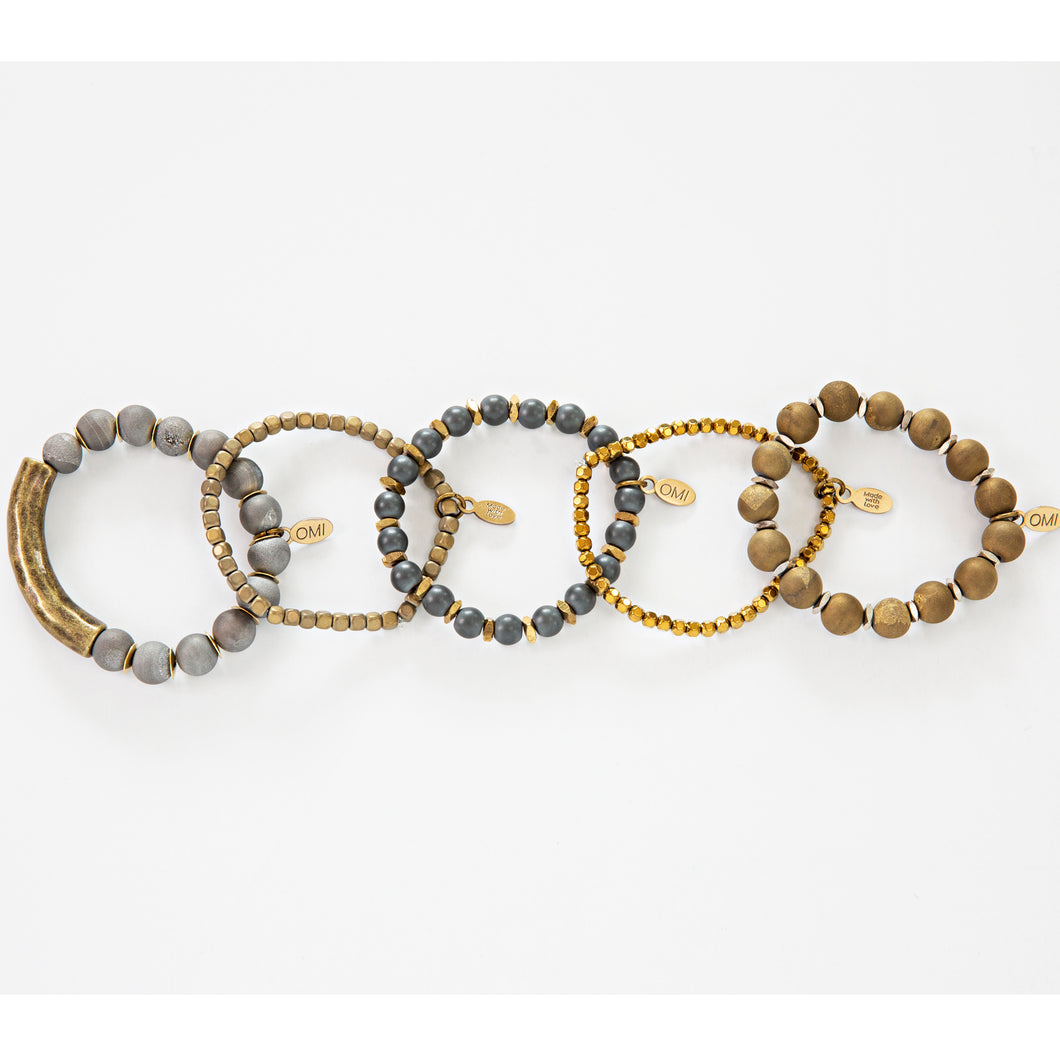 SB + OMI Beads: Gold and Silver Druzy