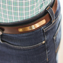 Clayton & Crume: Stitched Bridle Nameplate Leather Belt