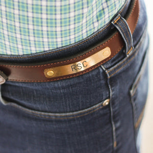 Clayton & Crume: Stitched Bridle Nameplate Leather Belt - SB Shop