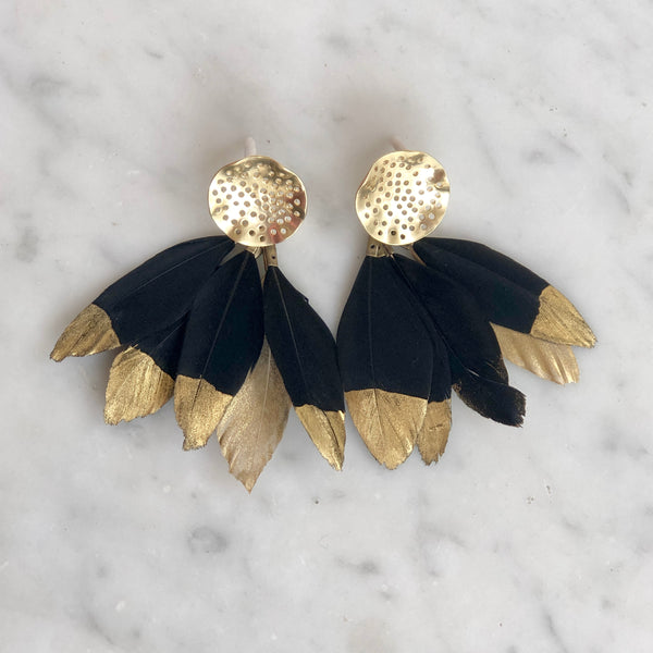 Hearne Dry Goods: Black Feather Ear Bobs