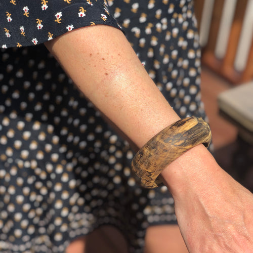 Prickly Dame: Spalted Hackberry Wooden Bangle