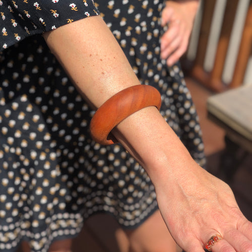 Prickly Dame: Black Cherry Wooden Bangle