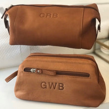 South of Hampton: Tan Leather Monogrammed Dopp Kit - SB Shop