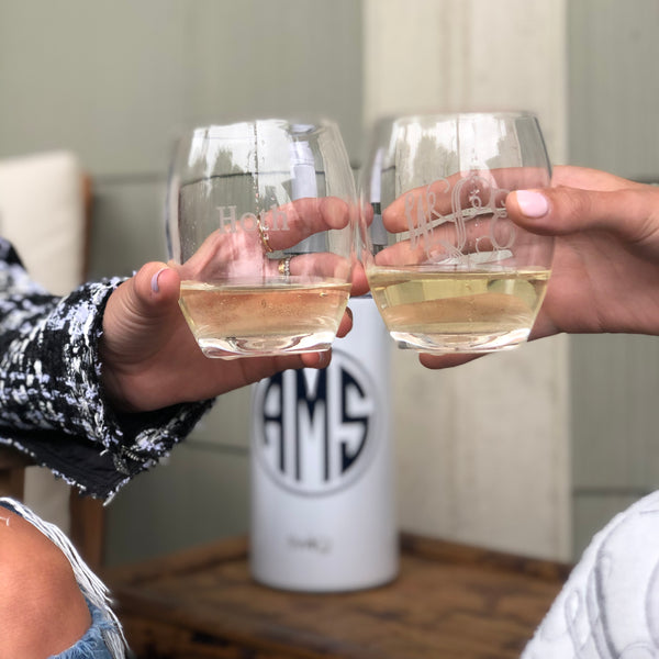 South of Hampton: Monogrammed Acrylic Stemless Wine Glasses