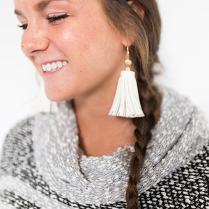 Large Leather Tassel Earrings