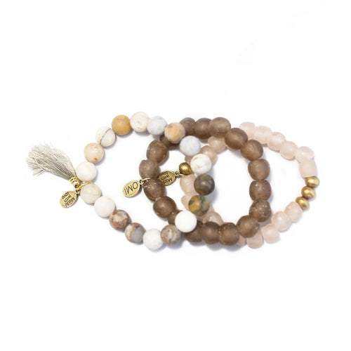 SB + OMI Beads: Blush Sea Glass Set