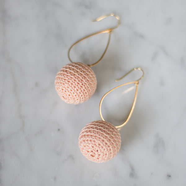 Hearne Dry Goods: Crochet Ear Bobs in Blush