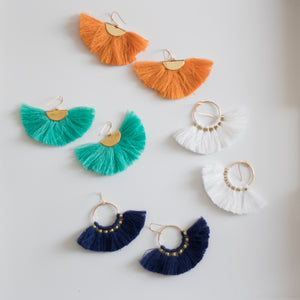 Hearne Dry Goods: Fan Tassel Earrings in White