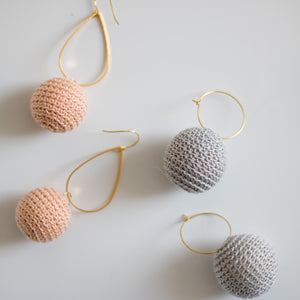 Hearne Dry Goods: Crochet Ear Bobs in Grey