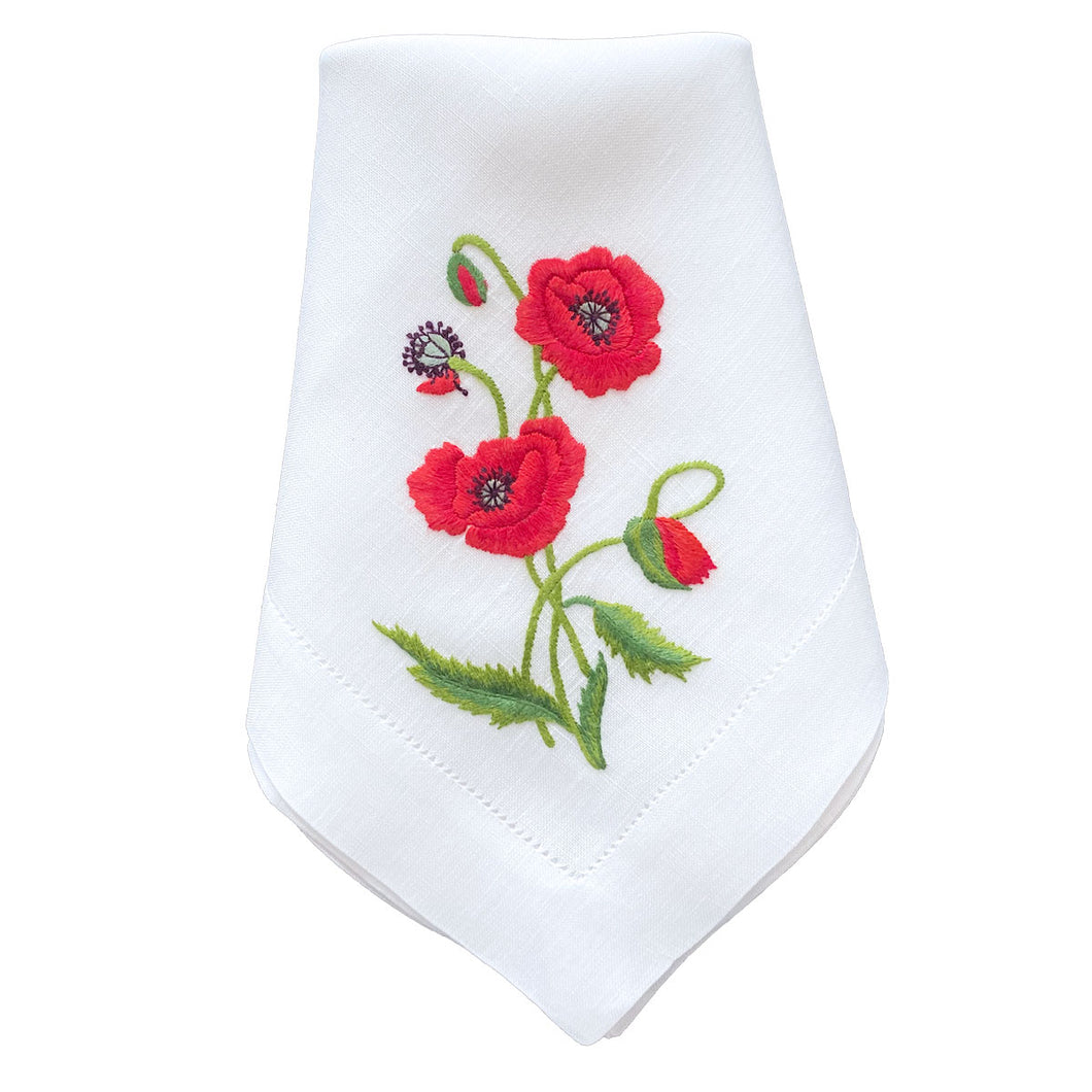 Lettermade: Hand Embroidered Poppy Dinner Napkin