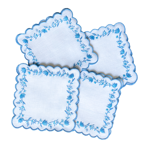 Lettermade: Blue & White Floral Cocktail Napkin