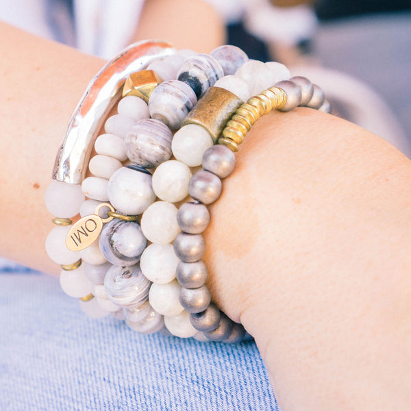 SB + OMI Beads: Grey & Gold Set of Five