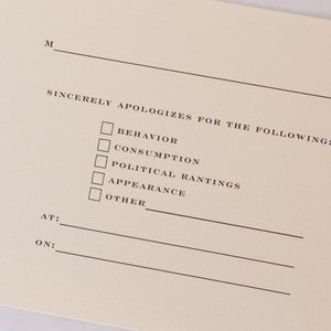 Trabeautiful Apology Cards/Envelopes