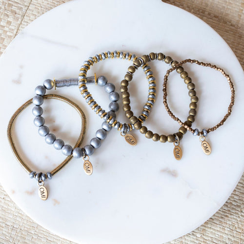 SB + OMI Beads: Mixed Metal Set of Five