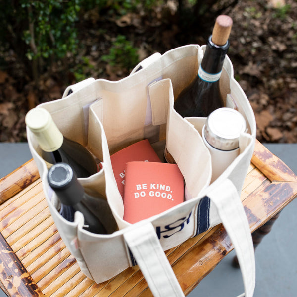 South of Hampton: Canvas Wine Tote