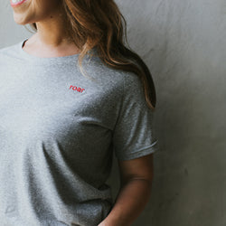 ROAR: Embroidered Grey Tee with Red