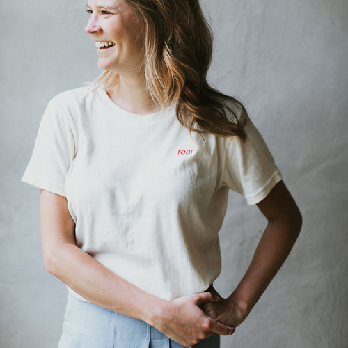 ROAR: Embroidered Cream Tee with Red