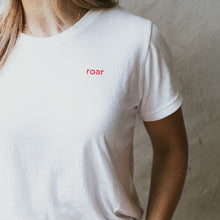 ROAR: Embroidered White Tee with Red