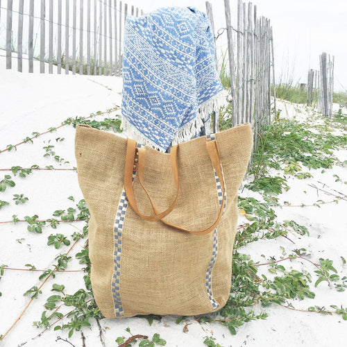 Turkish-T: Metallic Jute Beach Bag