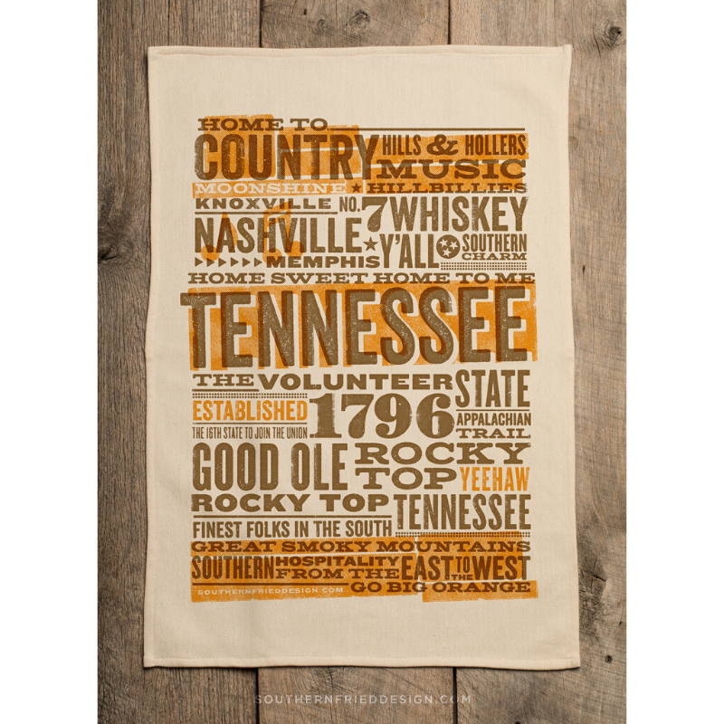 Southern Fried Design Barn: Tennessee Collage Kitchen Towel - SB Shop
