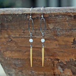 Amy Wells Designs: Matte Gold Spike & Faceted Moonstone Earrings