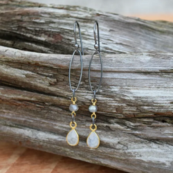 Amy Wells Designs: Moonstone Bezel & Oxidized Sterling Earrings