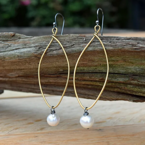 Amy Wells Designs: Gold Marquis Hoop & Fresh Water Pearl Earrings