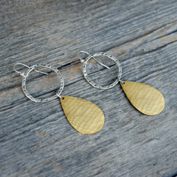 Amy Wells Designs: Hammered Sterling Ring & Matte Gold Tear Drop Earrings