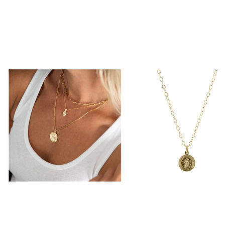 Carden Avenue: Golden Links Large Links Necklace + Saint Christopher Necklace Gift Set - SB Shop