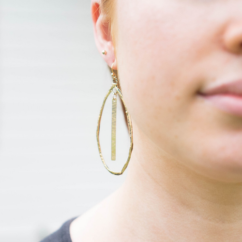 Amy Wells Designs: Gold Bronze Tear Drop Hoop Earrings