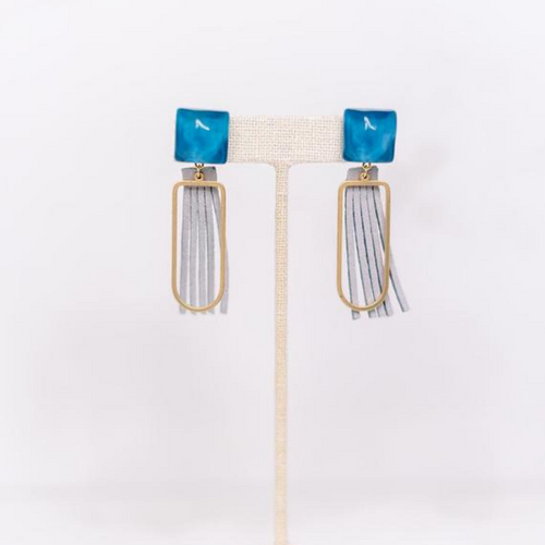 Hearne Dry Goods: Blue Fringe Earrings