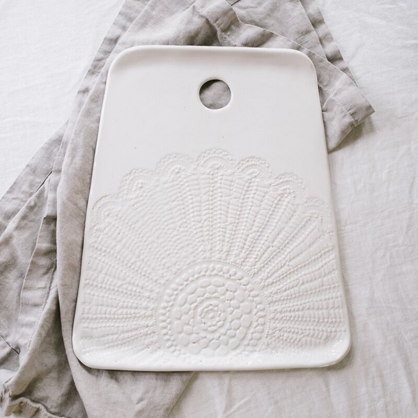 Handmade Studio TN: White Lace Cheeseboard - SB Shop