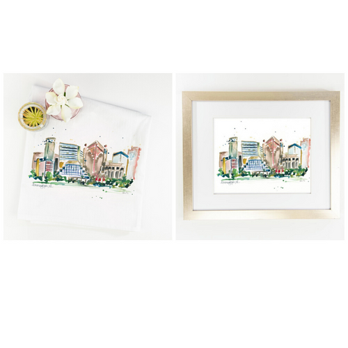 Erika Roberts Studio: Birmingham Watercolor Fine Art Print + Tea Towel Gift Set - SB Shop