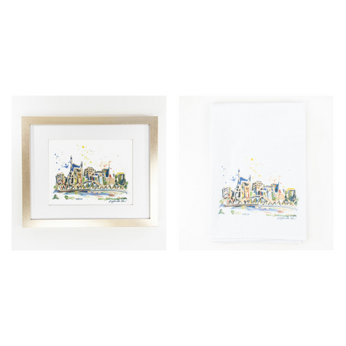 Erika Roberts Studio: Nashville Watercolor Fine Art Print + Tea Towel Gift Set - SB Shop
