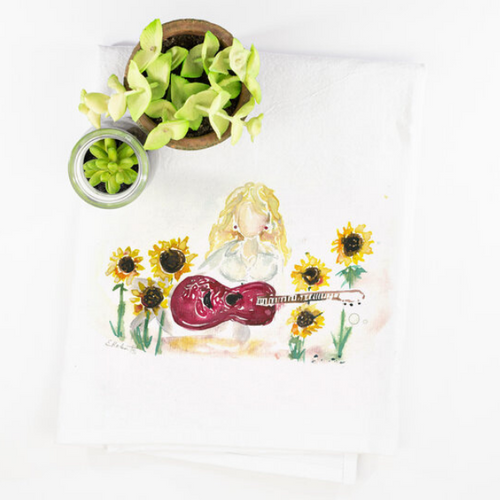 Erika Roberts Studio: 'What Would Dolly Do?' Watercolor Tea Towel