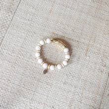 SB + OMI Beads: White & Gold Set of Five with Geode
