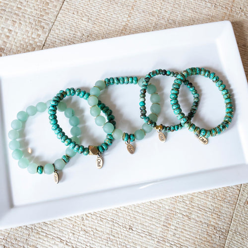 SB + OMI Beads: Green Set of Five