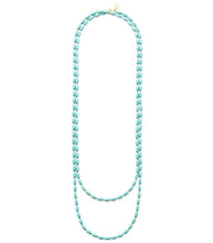 Charleston Rice Bead Necklace (Turquoise)