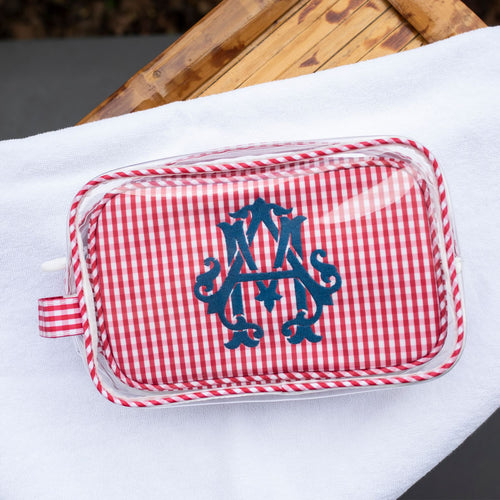 South of Hampton: Clear Gingham Travel Case Duo in Red