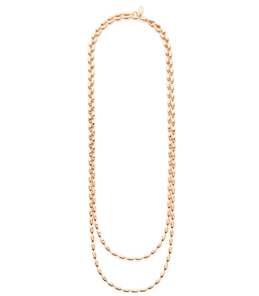 Rose Gold Charleston Rice Bead Necklace