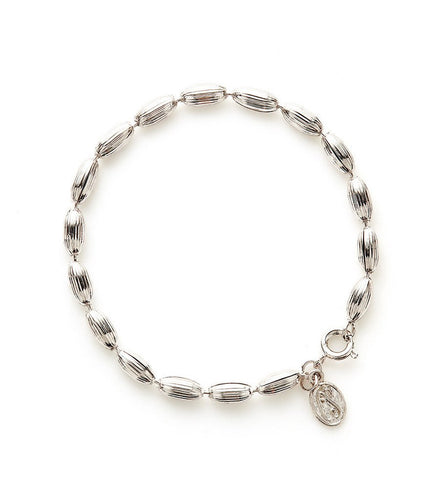 Charleston Rice Bead Bracelet (Shiny Silver)