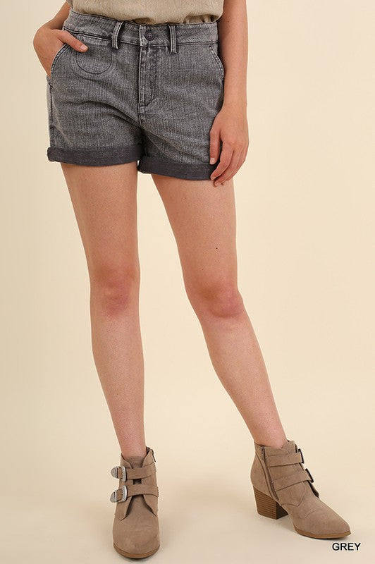 Rolled Hem Shorts - Gray