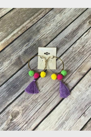 Tassel Hoop Earrings - Purple