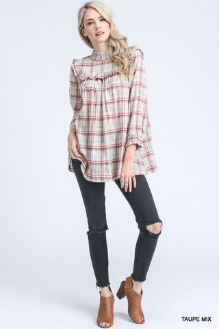 Smocked Plaid Blouse